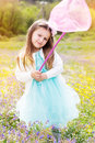 Little girl on the nature with butterfly net Royalty Free Stock Photo