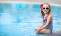 Little girl near swimming pool portrait of adorable a Royalty Free Stock Photos