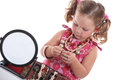 Little girl with necklaces and mirror Royalty Free Stock Photo