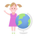 Little girl next to the globe illustration of a on a white background Royalty Free Stock Image