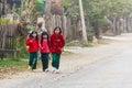 Little girl nyaung shwe in myanmar burmar group of burmese girls Stock Photos