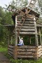 Little girl in the old mill altai krai Royalty Free Stock Images