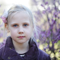 Little girl outdoors, spring Royalty Free Stock Images