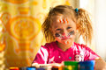 Little girl with paint of face Royalty Free Stock Photography