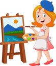 Little girl painting on a canvas Royalty Free Stock Photo
