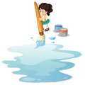 A little girl painting the floor illustration of on white background Royalty Free Stock Photography