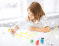 Little girl painting picture education school art and painitng concept student Royalty Free Stock Photo