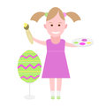 Little girl paints an easter egg illustration of a on a white background Stock Image