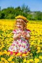 Little girl in the park playing spring Royalty Free Stock Photography