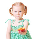 Little girl with peach isolated on white Royalty Free Stock Photos