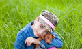 Little girl with pet puppy mascot mini pinscher Royalty Free Stock Photo