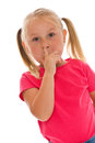 Little girl picking her nose Stock Photo