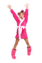 Little girl in pink bathrobe Stock Photos