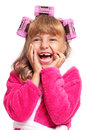 Little girl in pink bathrobe Royalty Free Stock Photo