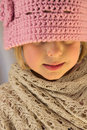 Little Girl in Pink Crochet Hat Stock Photography