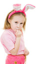The little girl with pink ears bunny looks hurt Royalty Free Stock Photography