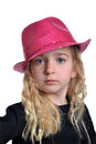 Little girl pink fashion hat white background Royalty Free Stock Image