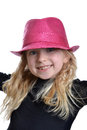 Little girl with pink fashion hat white background Royalty Free Stock Images