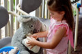 Little girl play pretend to be animal doctor veterinary physic physician placing a bandage over an arm of injured koala soft toy Stock Photos