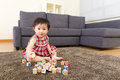 Little girl play with toy block Royalty Free Stock Images