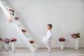Little girl in a playful mood full length portrait of pretty ballerina Stock Photos