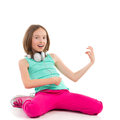 Little girl playing the air guitar Royalty Free Stock Photo