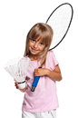 Little girl playing badminton Royalty Free Stock Image
