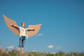 Little girl playing with cardboard toy wings in the park at the