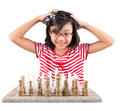 Little Girl Playing Chess III Royalty Free Stock Photo