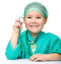 Little girl is playing doctor with stethoscope Stock Image