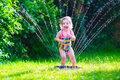 Little girl playing with garden water sprinkler Royalty Free Stock Photo