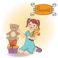 Little girl playing with her birthday gifts Royalty Free Stock Photography