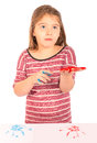 Little Girl Playing with Paint Royalty Free Stock Photo