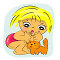 Little girl playing with pet illustration Stock Photos