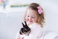 Little girl playing with a real pet rabbit Royalty Free Stock Photo