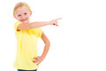 Little girl pointing Stock Images