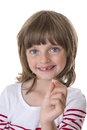 Little girl pointing her missing teeth in hand Stock Photography