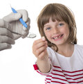 Little girl pointing her missing teeth Royalty Free Stock Photo