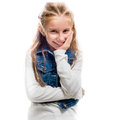 Little girl pointing upwards isolated on white background close up Stock Photos