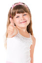 Little girl portrait of cute showing thumb up isolated on white background Royalty Free Stock Photos