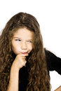 Little girl portrait pucker mistrust thinking Stock Image