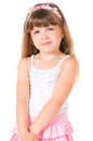 Little girl portrait of a sad isolated on white background Royalty Free Stock Photo