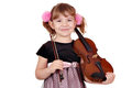 Little girl posing with violin Royalty Free Stock Image