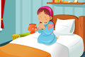 Little girl praying a illustration cute before going to bed Stock Image
