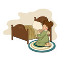 Little girl is preparing for sleep illustration in vector format Royalty Free Stock Images