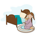 Little girl is preparing for sleep illustration in vector format Stock Image