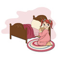 Little girl is preparing for sleep illustration in vector format Stock Photos