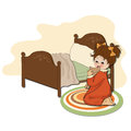Little girl is preparing for sleep illustration in vector format Stock Photo