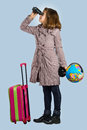 Little girl is preparing to travel Stock Photos