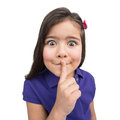 Little girl putting finger to mouth nice child making big eyes Royalty Free Stock Image